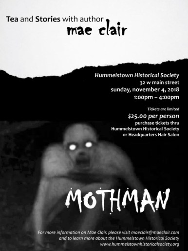 Advertisement for tea and stories with author Mae Clair focus on creepy creature in the front and the word Mothman